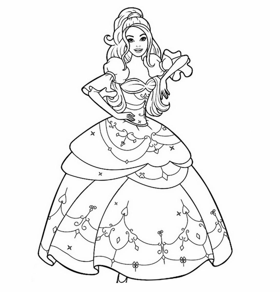 Картинки для раскраски барби принцессы