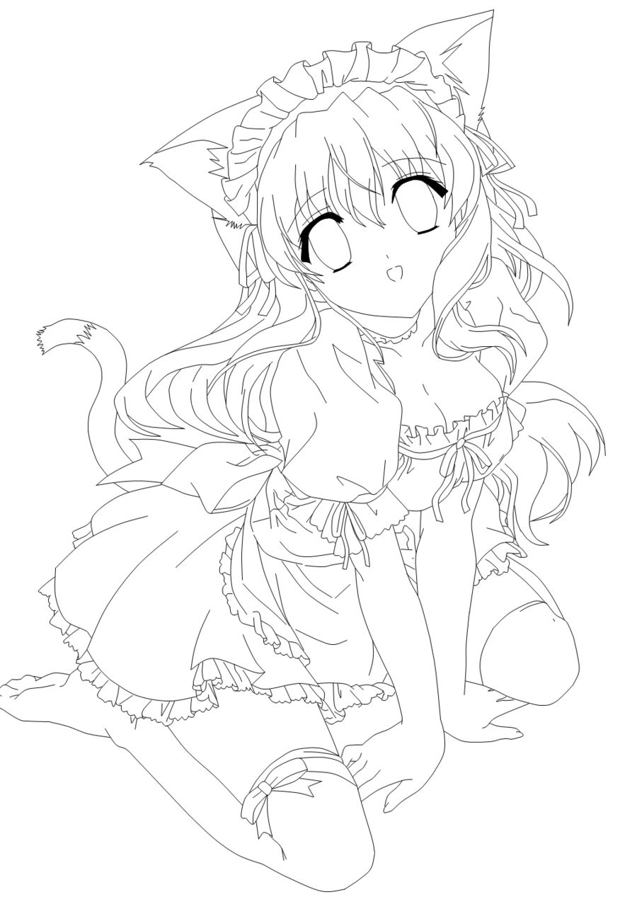 Anime Neko Coloring Pages Sketch Coloring Page Card From User