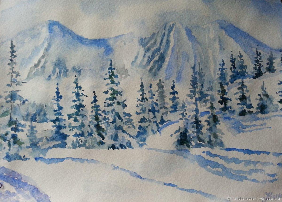 зимний пейзаж картинки рисунки поэтапно минимум, они