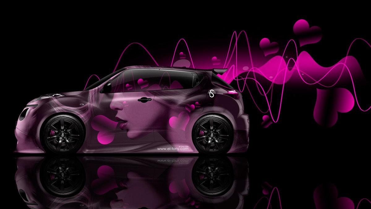 Nissan Juke R Side Glamour Girl Aerography Heart