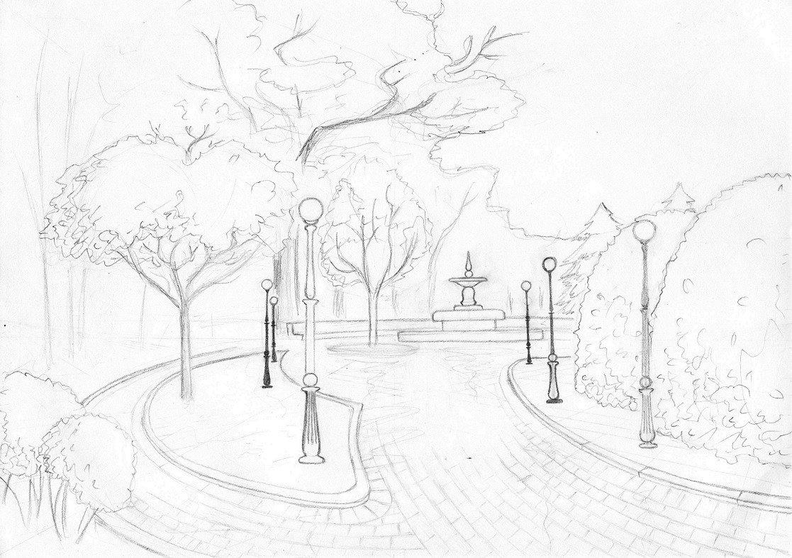 рисунки карандашом парк победы одежду разных