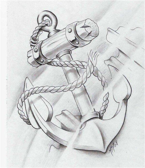 Якорь картинка карандаш