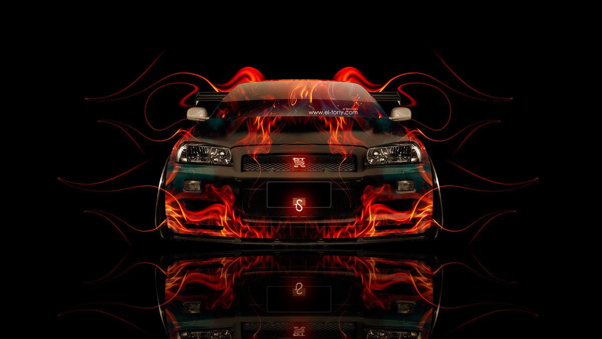 Nissan Skyline GTR R34 JDM Front Fire Abstract