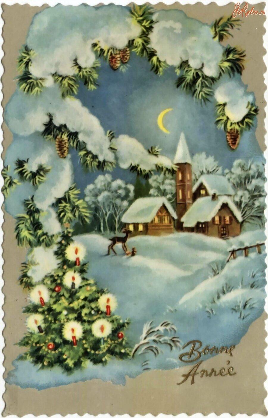 Открытки рождественские ретро