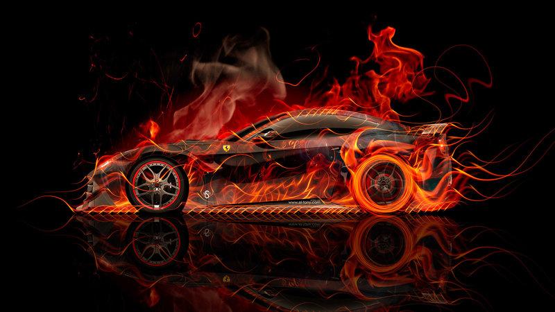 Ferrari F12 Berlinetta Side Super Fire Abstract Car