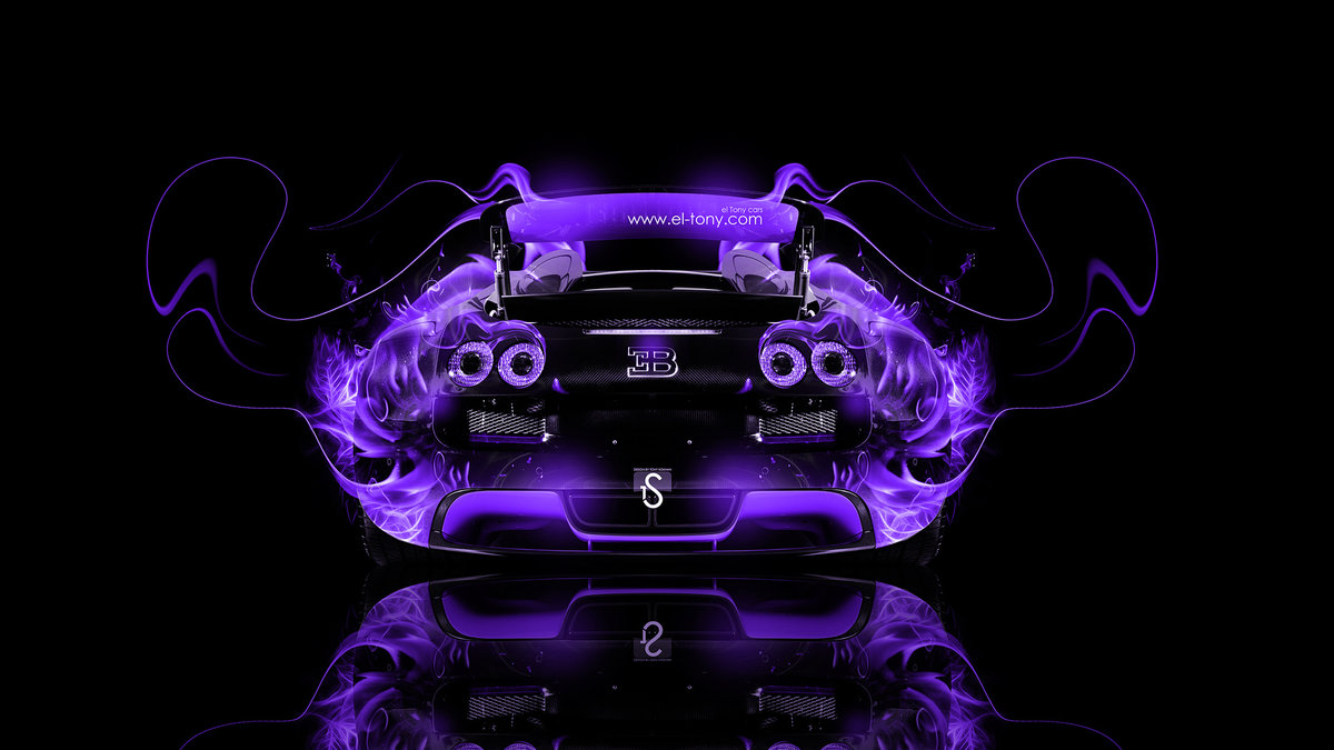 Bugatti Veyron Back Violet Fire Abstract Car 2014
