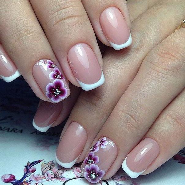 Дизайн ногтей френч с орхидеей 43