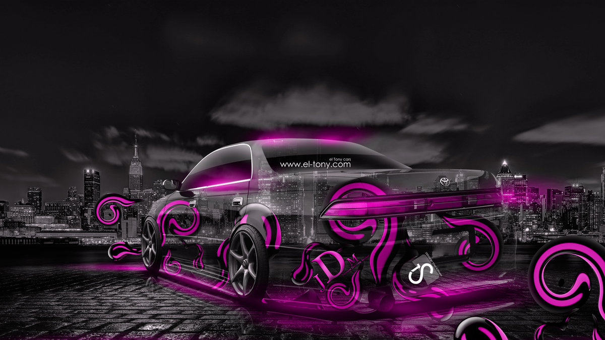 Toyota Mark2 JZX90 JDM Effects Pink Crystal City