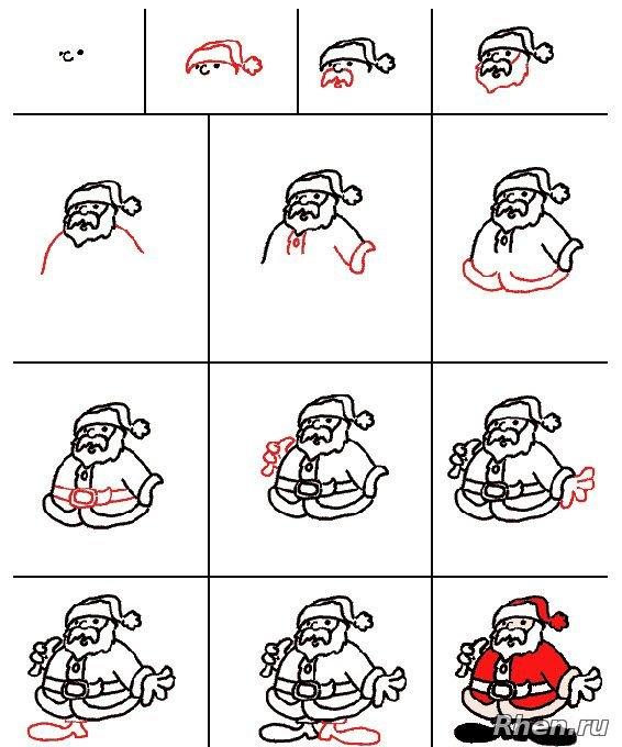 Открытки поздравления, нарисовать прикольного деда мороза пошагово