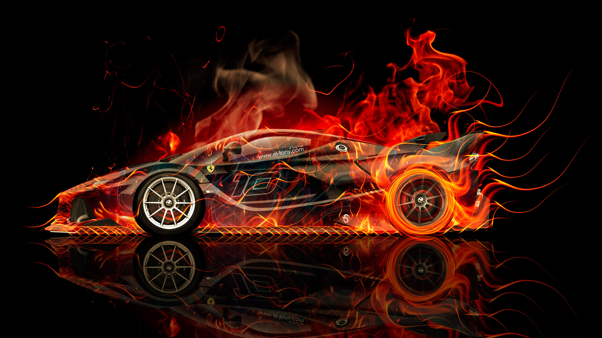 Ferrari FXX K Side Fire Abstract Car 2015 Original Orange Yellow ...