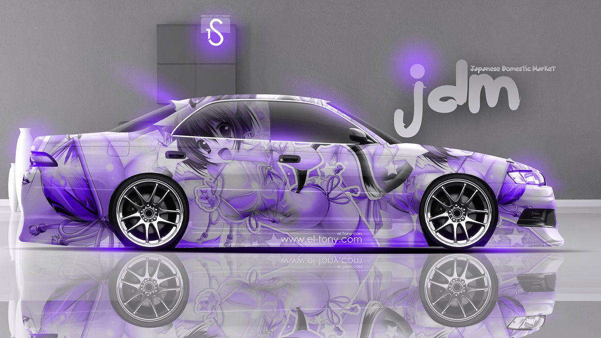 Good Toyota Mark 2 JZX90 JDM Violet Anime Aerography