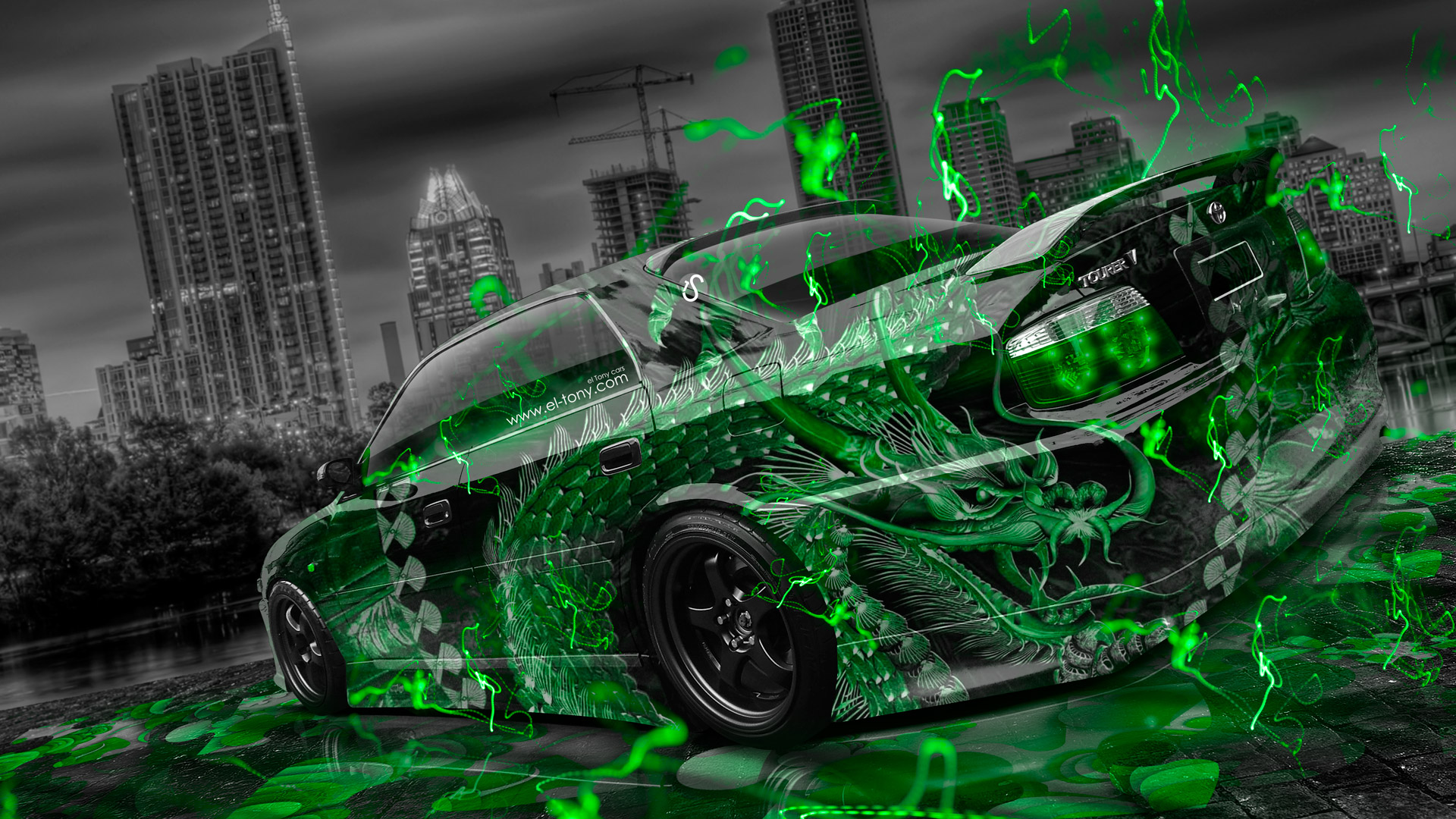 Toyota Chaser JZX100 TourerV JDM Tuning Dragon Aerography City Car 2015 Green Neon Effects HD Wallpapers Design By Tony Kokhan El