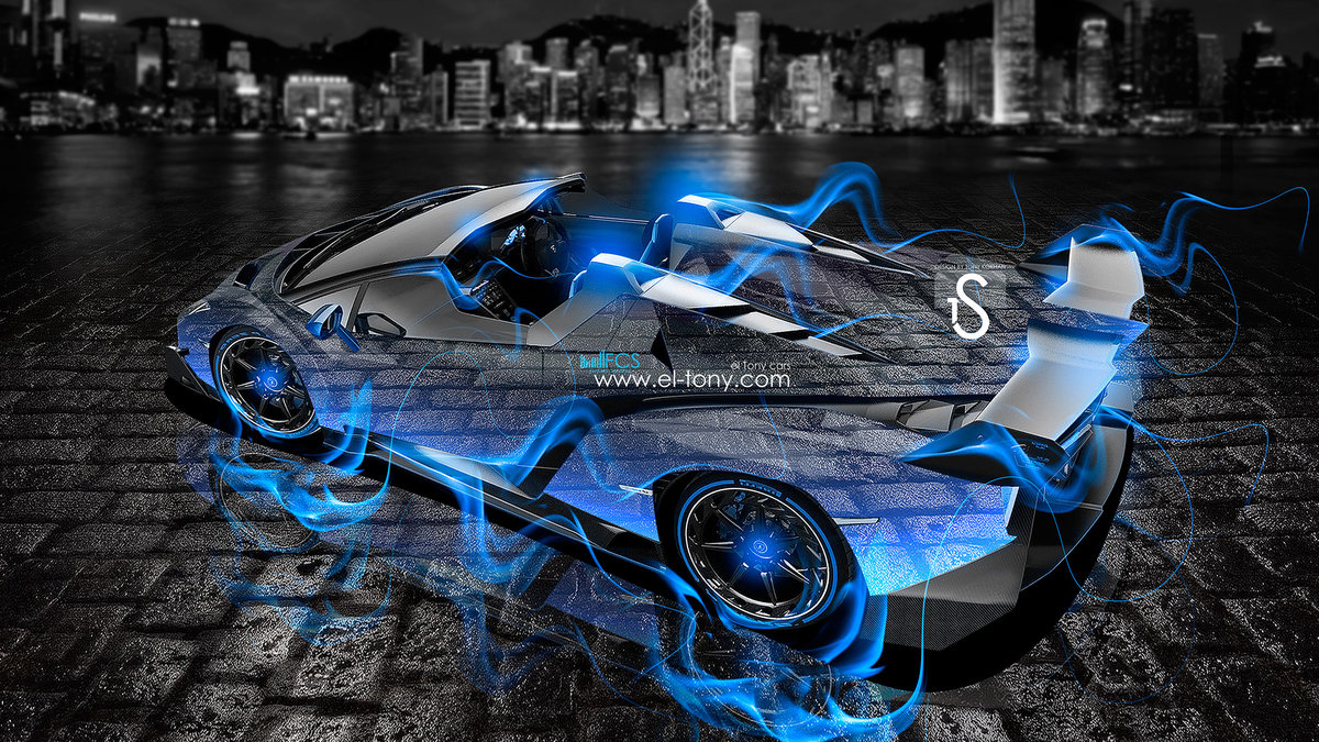 Lamborghini Veneno Roadster Blue Fire City Crystal Car