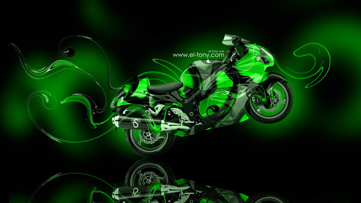 Moto Suzuki Hayabusa Super Abstract Green Plastic Bike