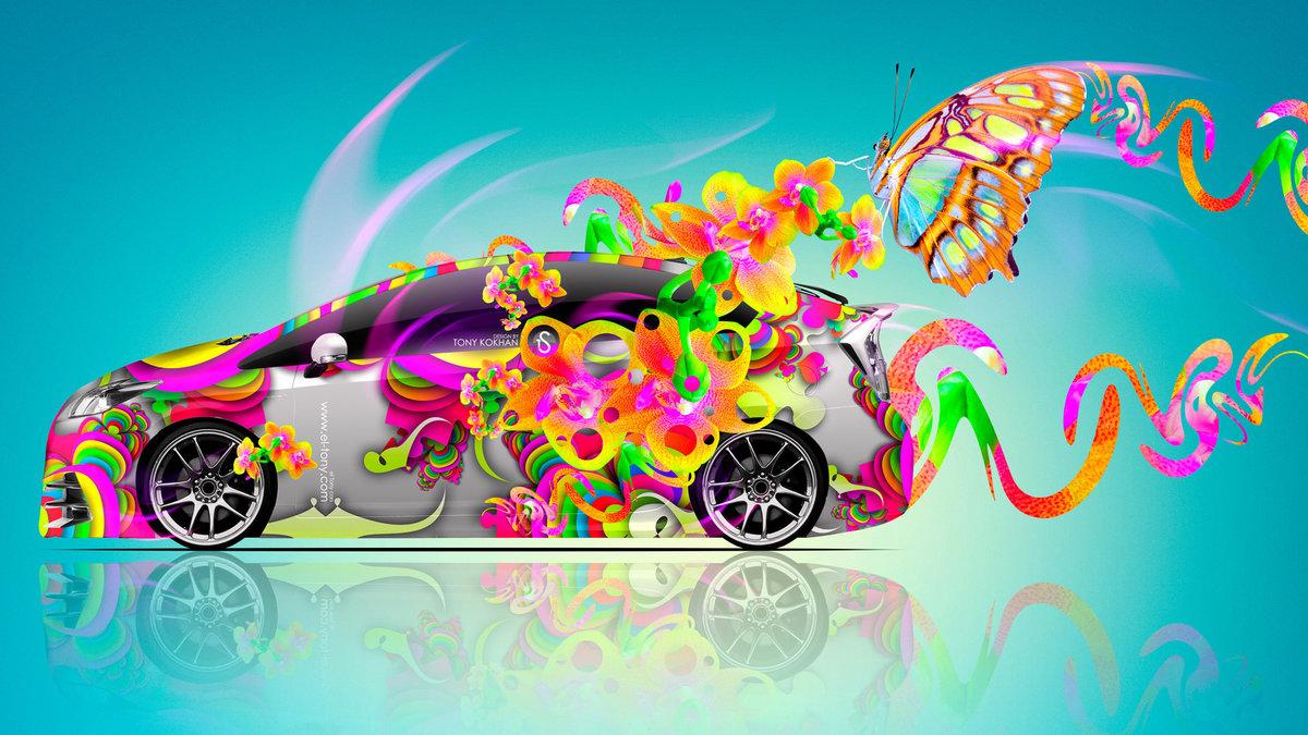Toyota Prius Hybrid Side Fantasy Flowers Butterfly Car