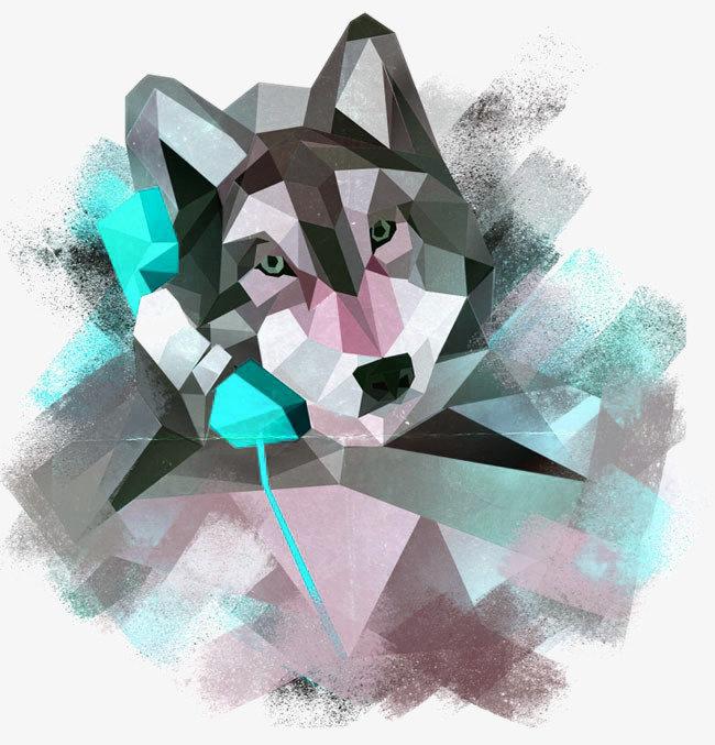 Картинки волка из треугольников