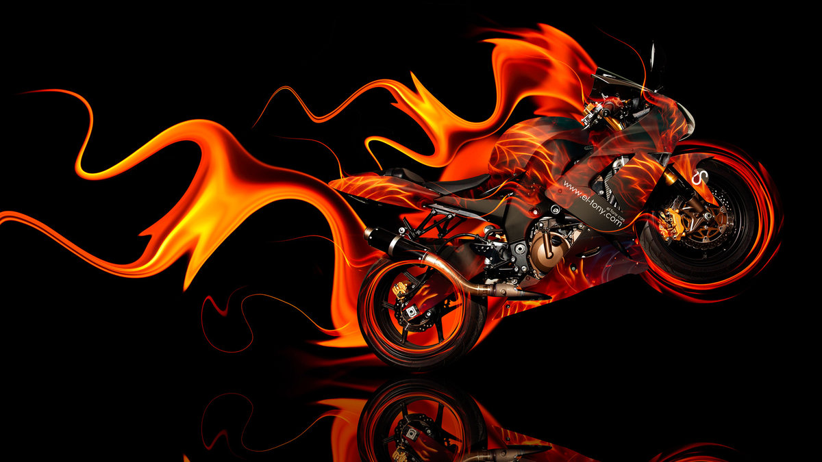 Moto Kawasaki Side Super Fire Abstract Car 2014
