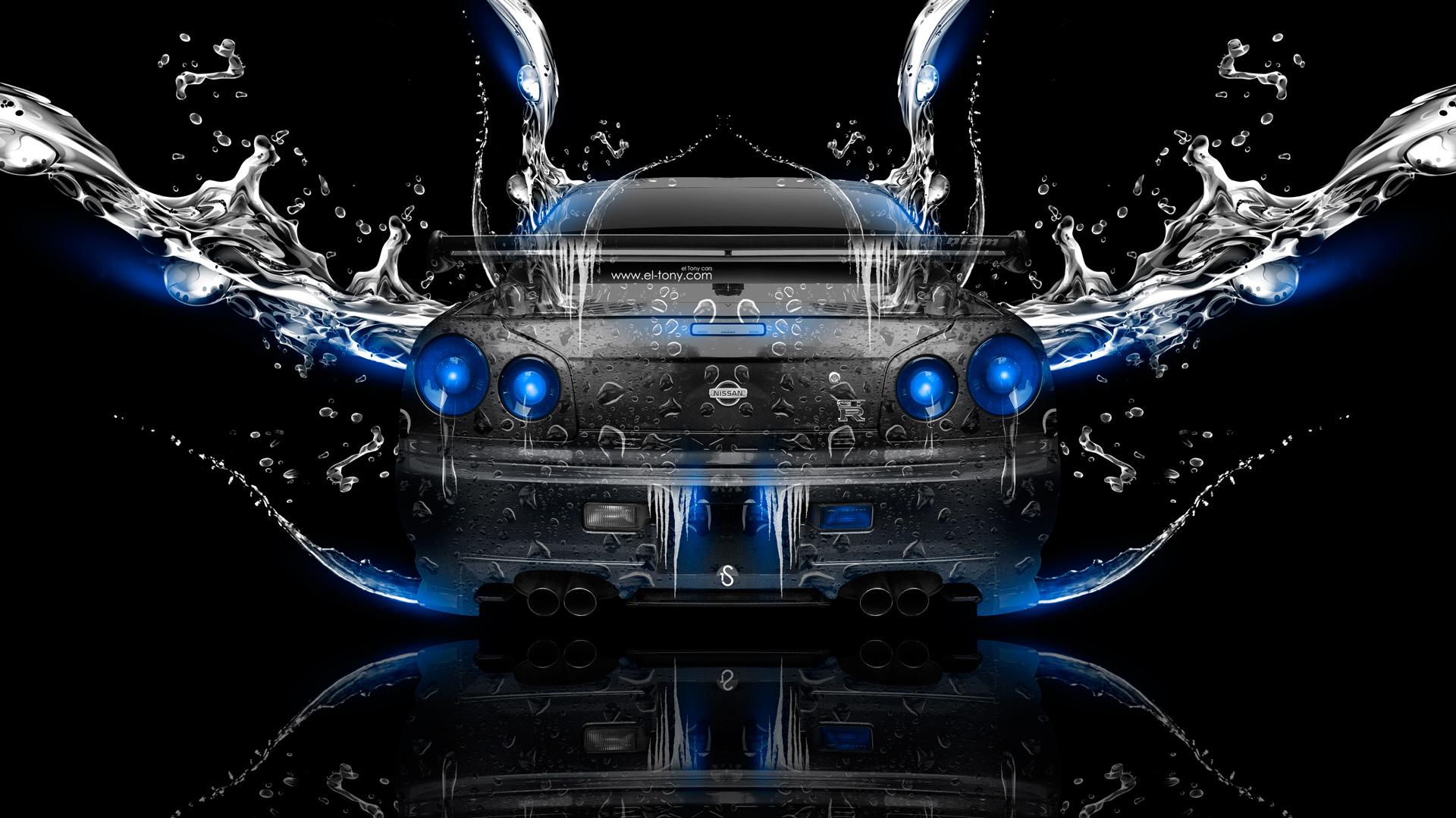 «Nissan Skyline GTR R34 JDM BackUp Water Car 2014 Photoshop Art Blue Neon HD Wallpapers Design By Tony Kokhan Www.el Tony.com_  (1920×1080) Nissan ...