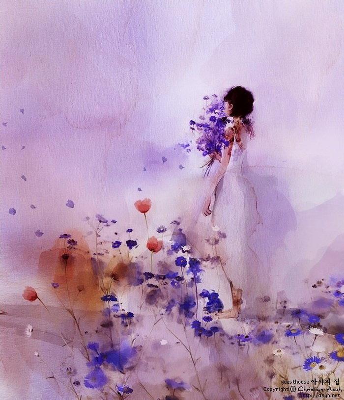 открытка ты прекрасна как весна акварель