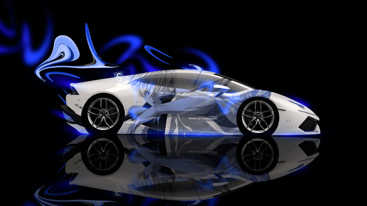 Lamborghini Huracan Side Anime Aerography Car 2014 Blue Neon Design