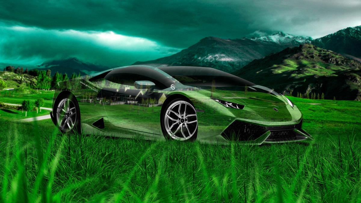 Lamborghini Huracan Crystal Nature Car 2014 Art Photoshop Hd