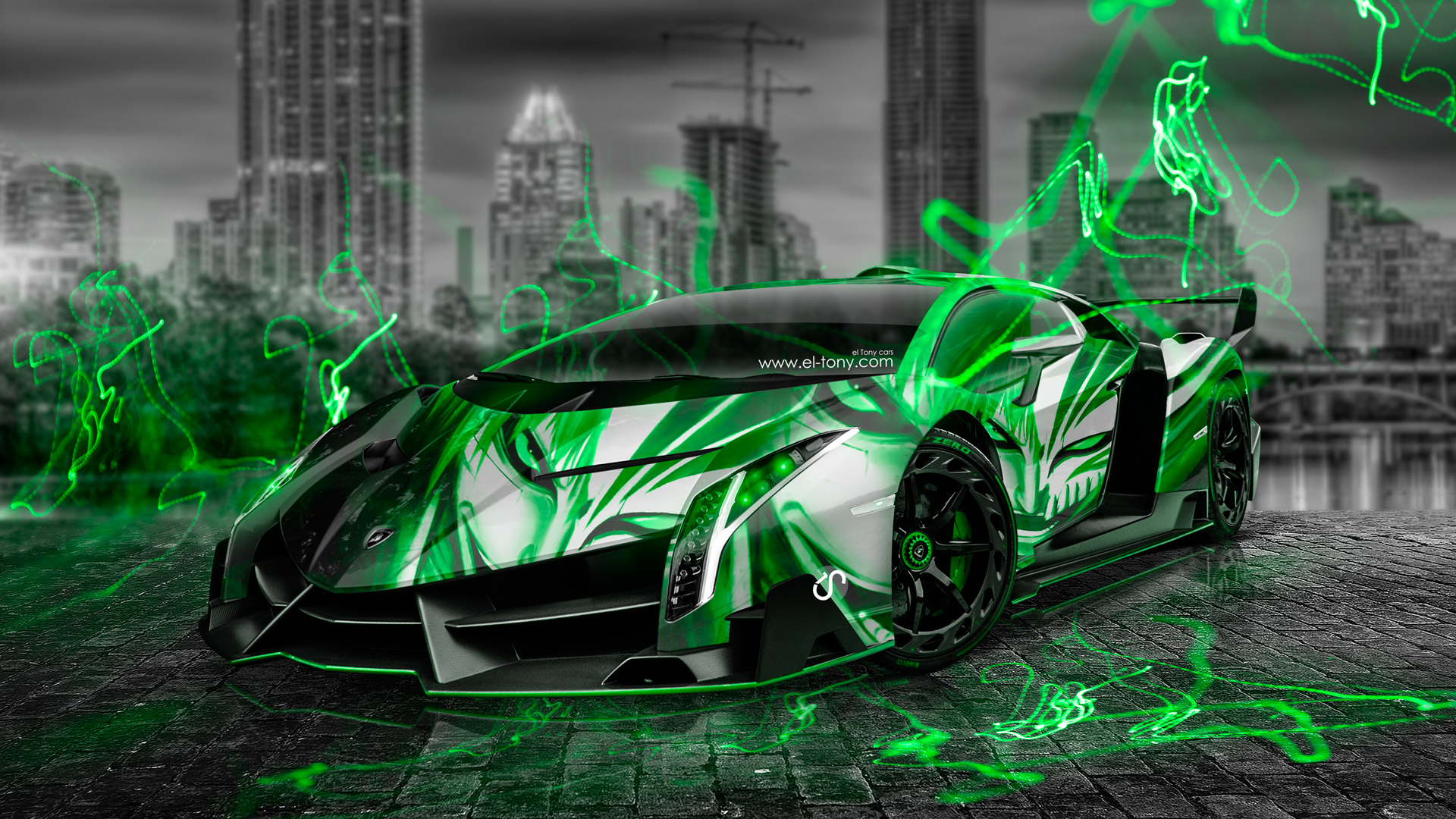 Lamborghini Veneno Anime Bleach Aerography City Car 2014 Green Neon ...