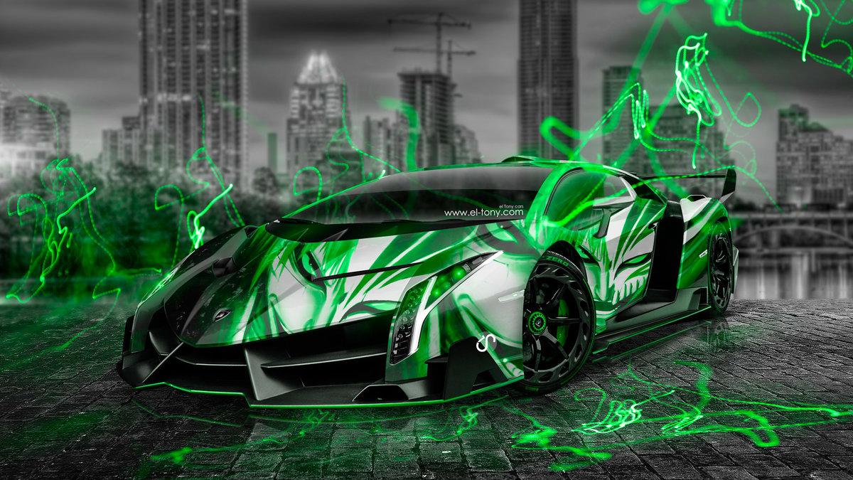 """Lamborghini-Veneno-Anime-Bleach-Aerography-City-Car-2014 ..."