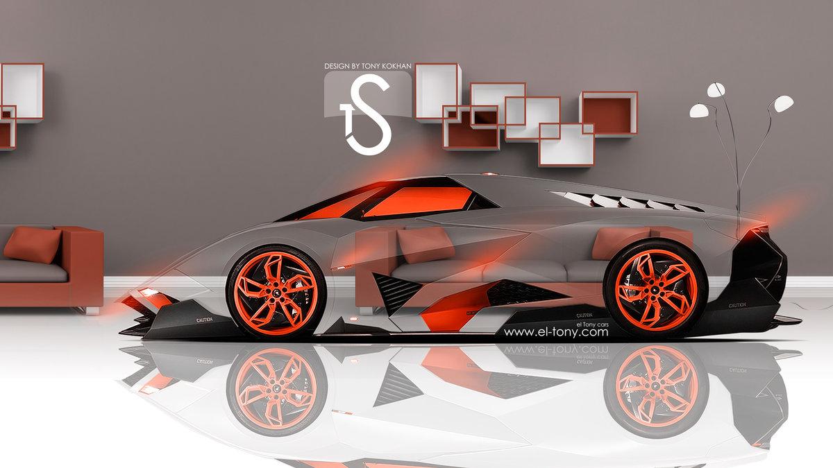 Lamborghini Egoista Crystal Home Car 2013 Orange Neon Hd Wallpapers