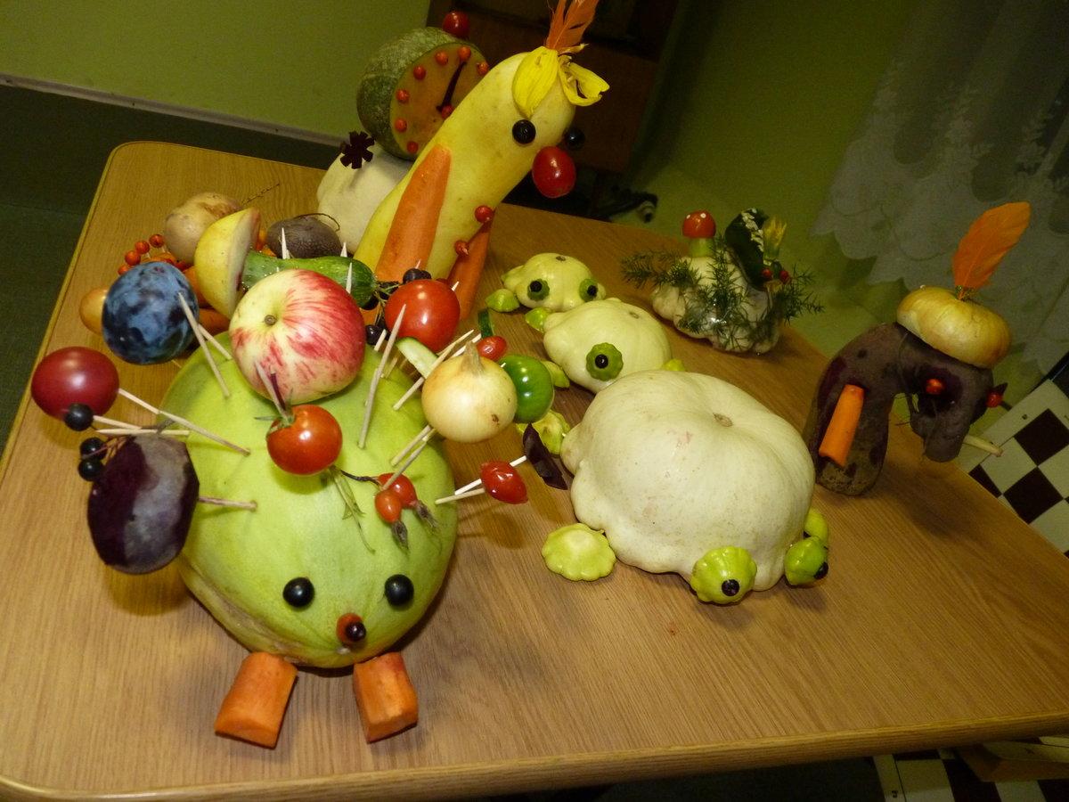 картинки поделок из овощей и фруктов на тему осенние можно приобрести