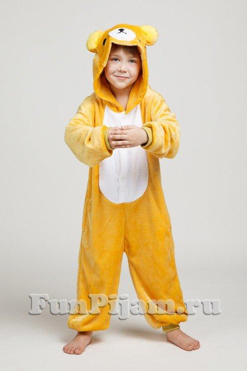 Детская пижама-кигуруми в виде мультгероя медведя Rilakkuma нежного цвета  охры 31b285eb3557e