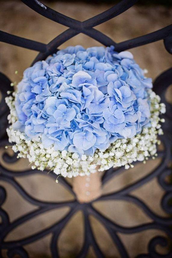 Букет невесты, букет голубая гортензия