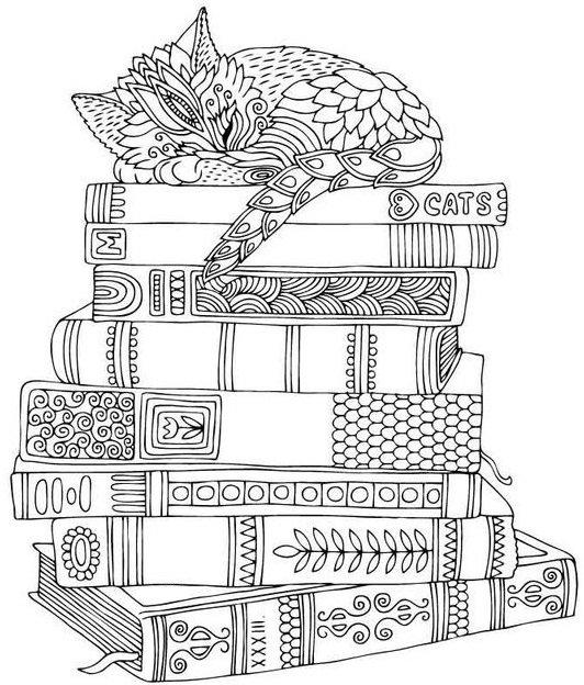 «Котик на книгах - антистресс раскраска, зенарт ...