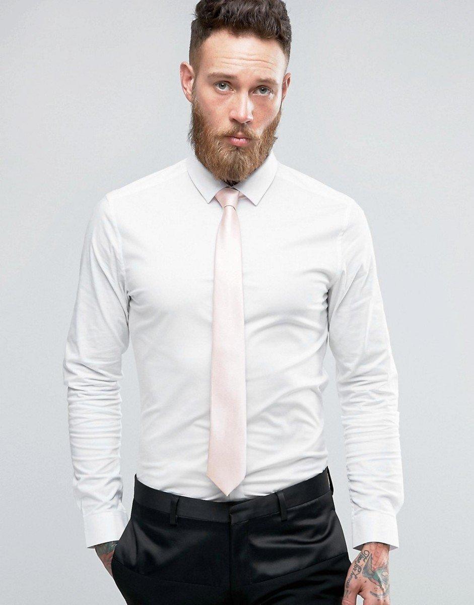 8b31f67cd8454dc ... Белая зауженная рубашка и розовый галстук ASOS Wedding - СКИ