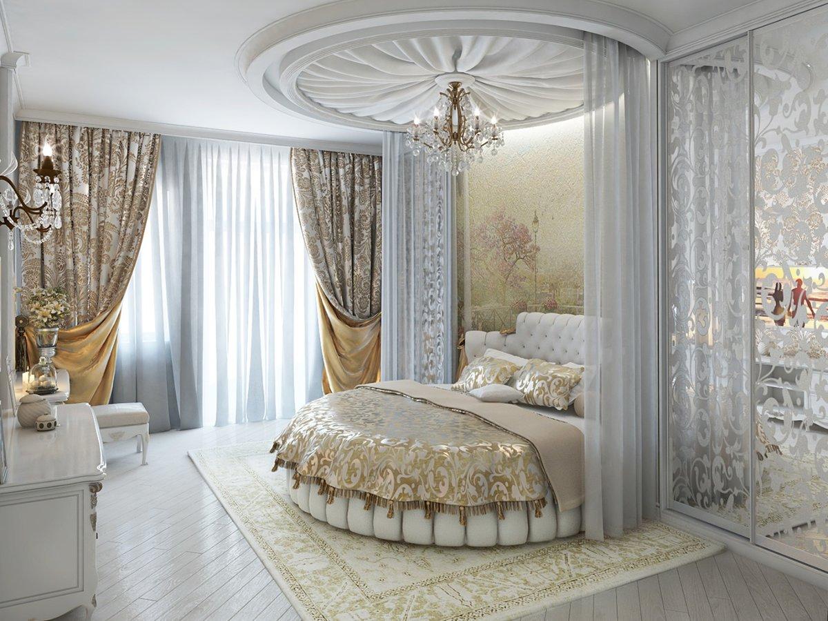 картинки спален с круглыми кроватями фото рядом