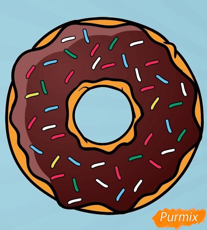 Картинки пончиков с глазурью для рисования