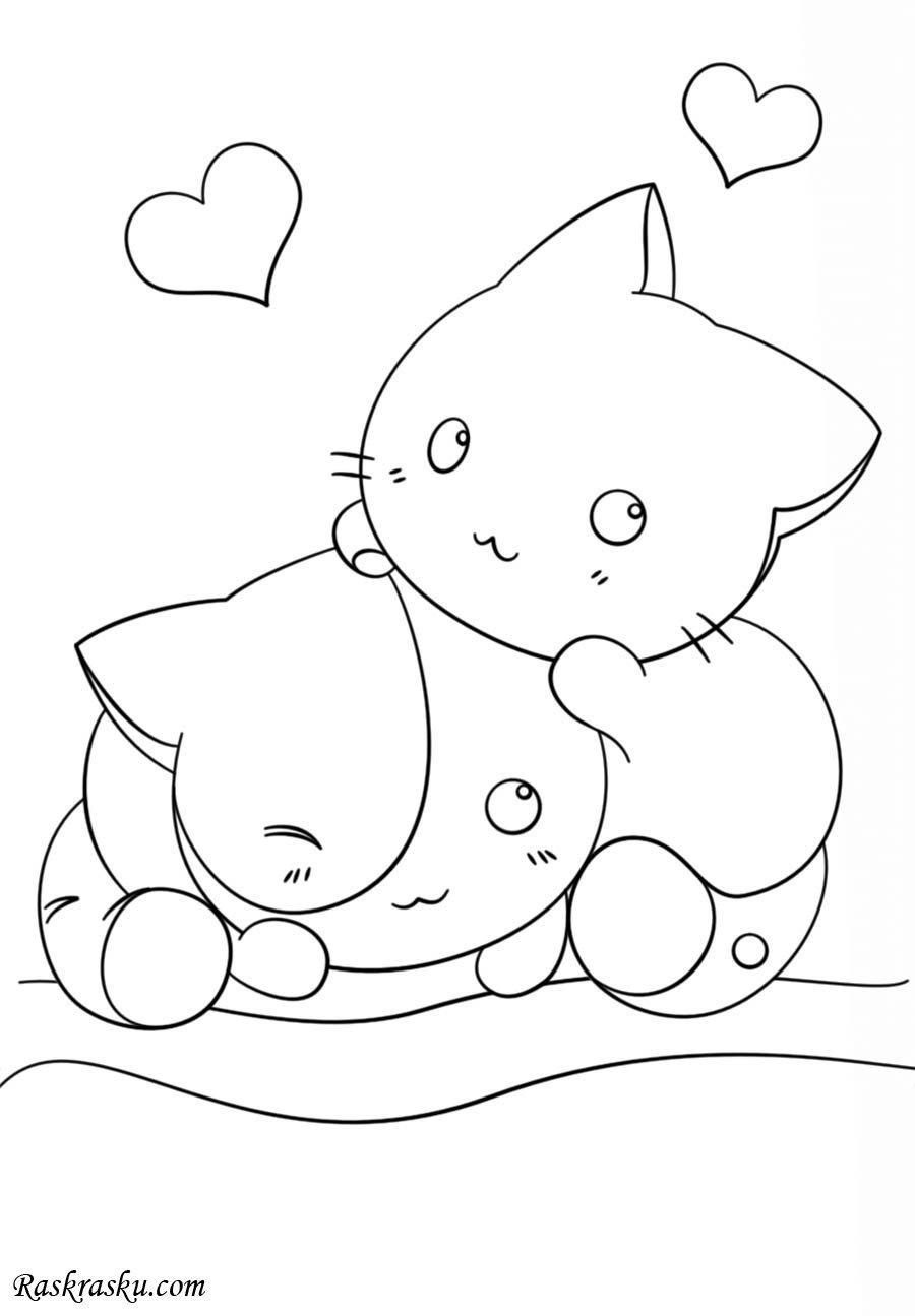 «Раскраска Милые Котята Раскраски аниме для детей ...