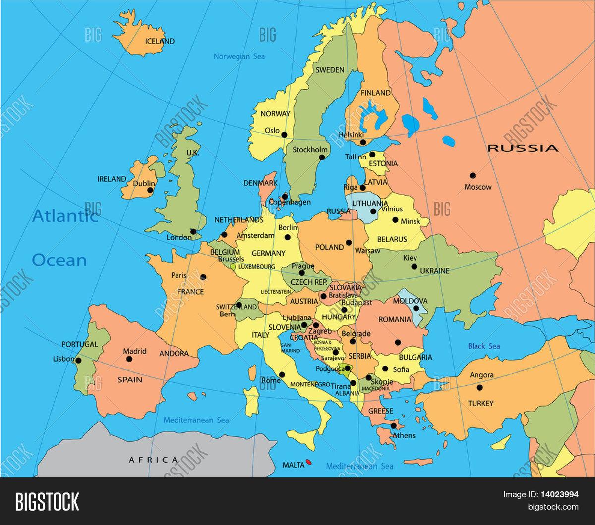 центре карта европы со странами крупно фото его основе