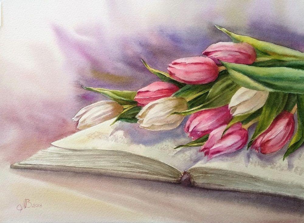 Открытка нарисованные тюльпаны, картинки анимашки