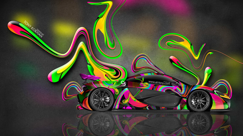McLaren P1 Side Super Abstract Aerography Plastic Car