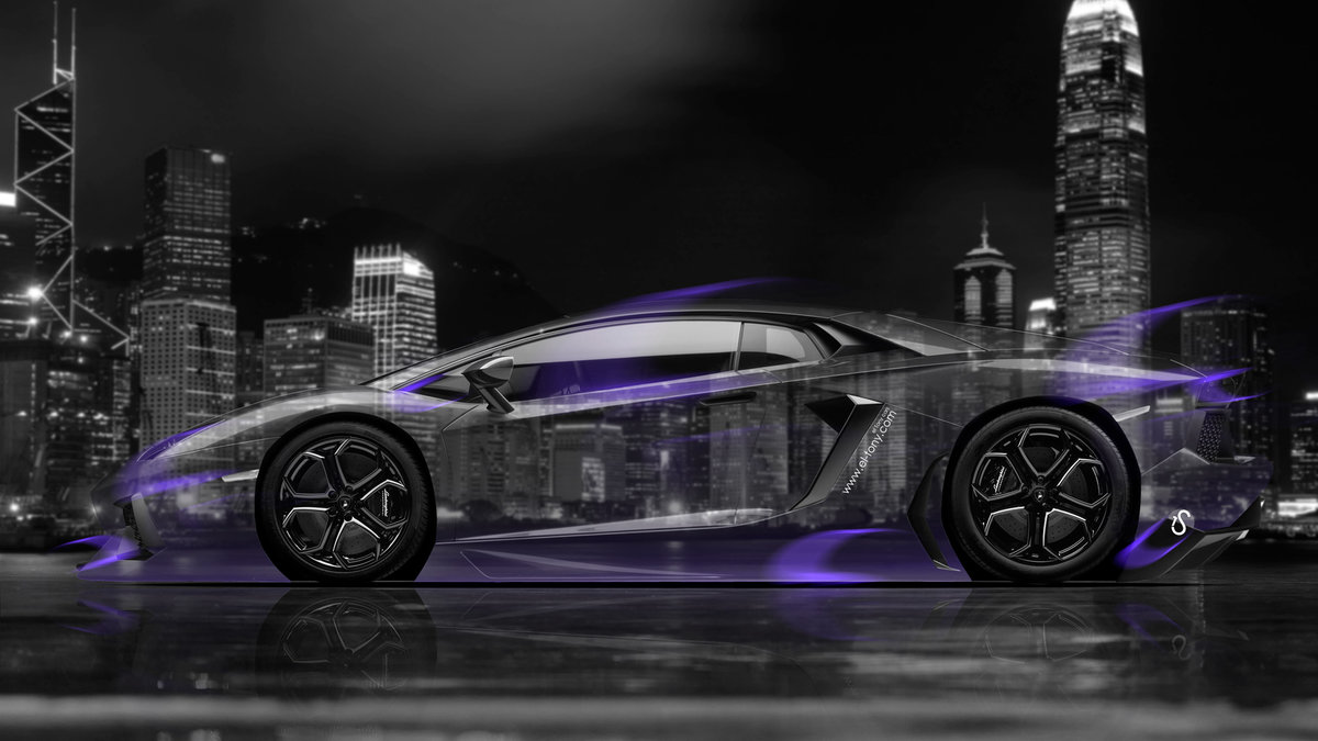 Lovely Lamborghini Aventador Side Crystal City Car 2014 Art