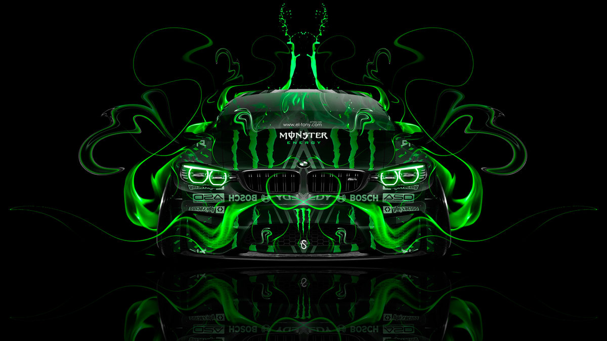 """""""Monster-Energy-BMW-M4-Tuning-Front-Plastic-Acid-Fire-Car"""
