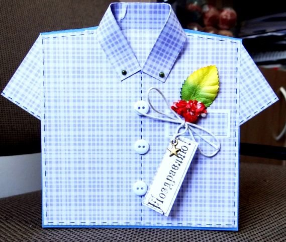Шаблон мужской рубашки открытка