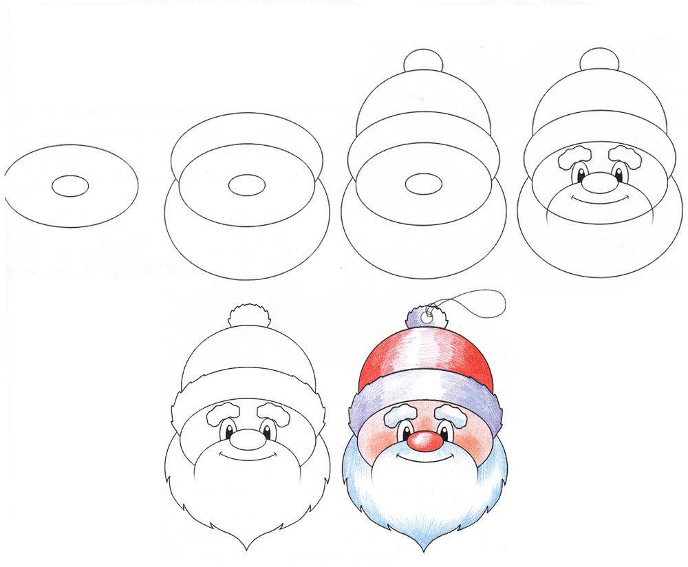 Поэтапное рисование новогодней открытки