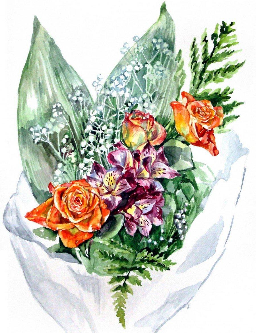 Открытки букеты цветов рисованные