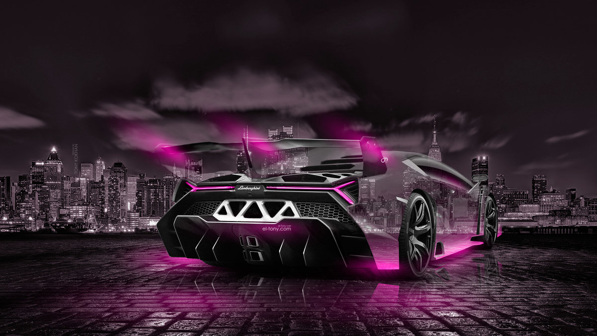 Lovely Lamborghini Veneno Back 3D Crystal City Night Neon