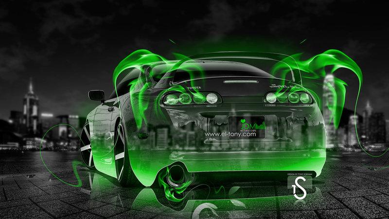Charmant Toyota Supra JDM Green Fire Crystal Car 2013