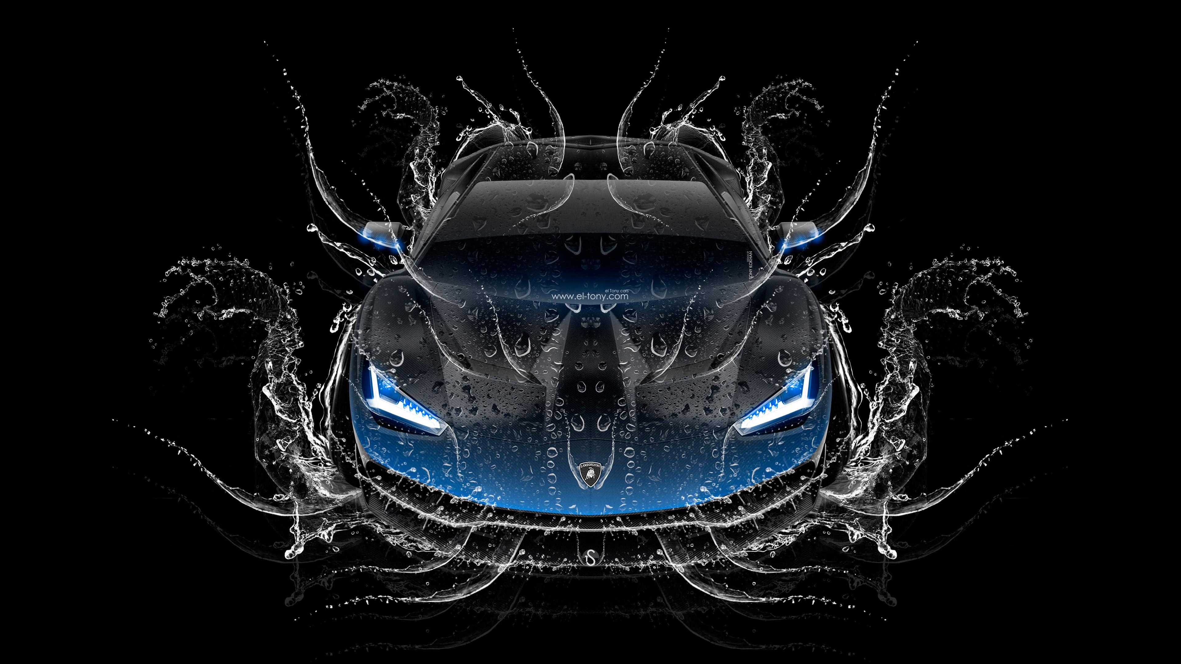 Lamborghini Centenario Frontup Super Water Splashes Car 2016 Blue