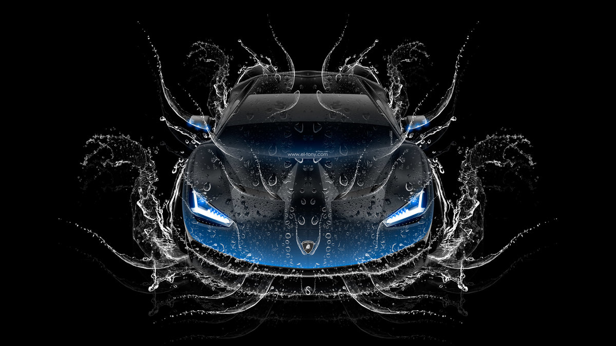 Lamborghini Centenario Frontup Super Water Splashes Car 2016 Blue