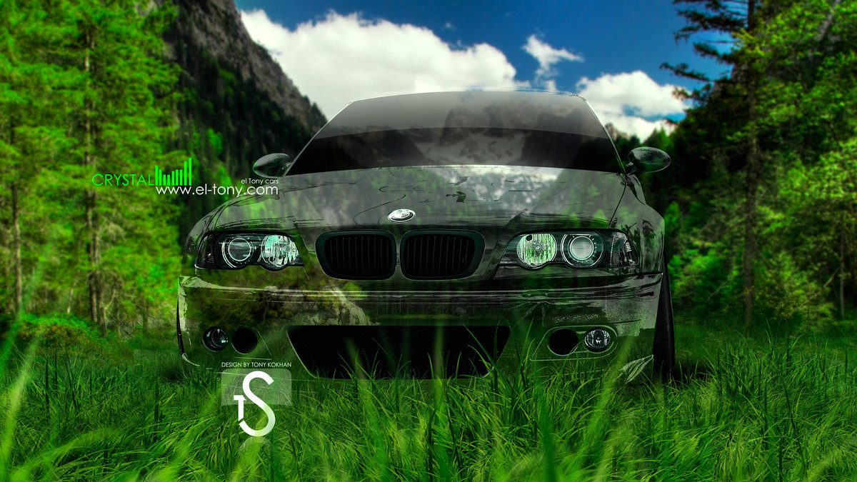 BMW Front Green Crystal Nature Car 2013 Mountains