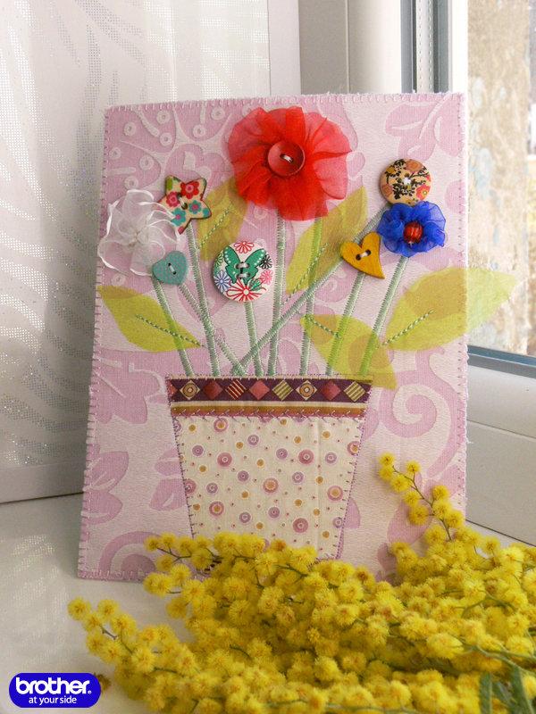 Текстильные открытки на 8 марта своими руками